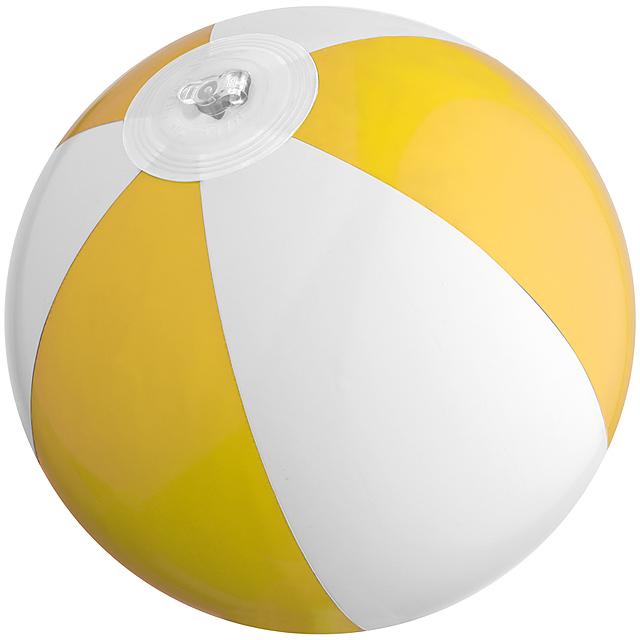 Bicoloured mini beach ball with 21.5 cm segments - yellow