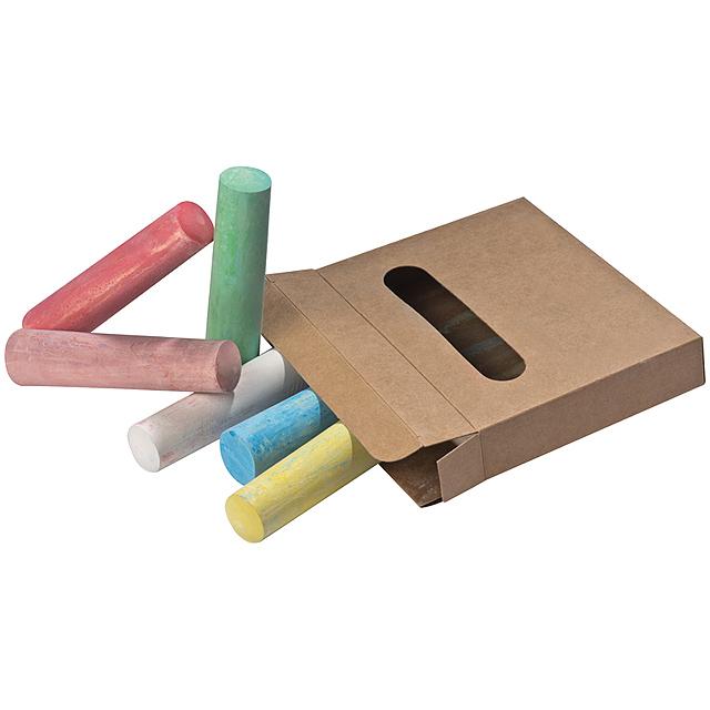 Barevné křídy v krabičce - hnědá