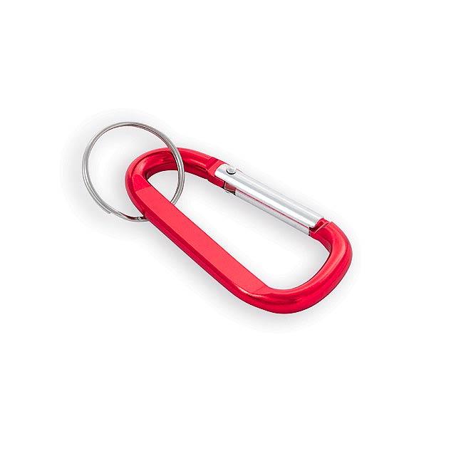 GARIN kovový přívěsek na klíče, karabina, Červená - červená