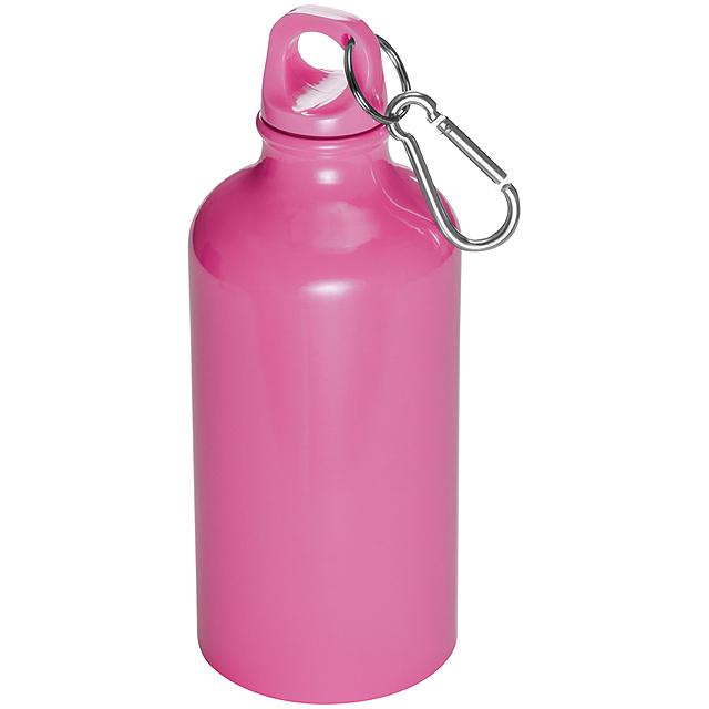 Láhev s karabinou - 500 ml - růžová