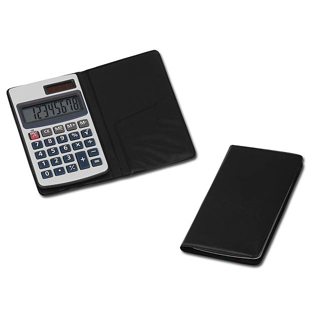 ARTON - Plastic 8-digit dual calculator in leather imitation case. Cell battery included. -