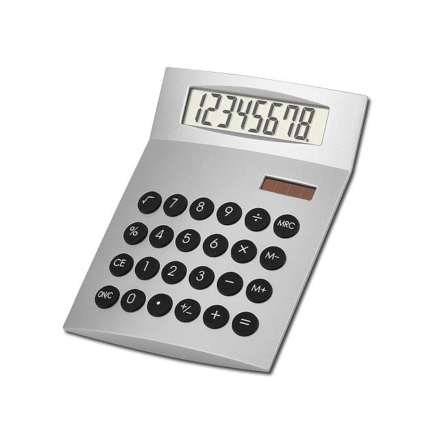 JETHRO - Plastic 8-digit dual calculator - silver