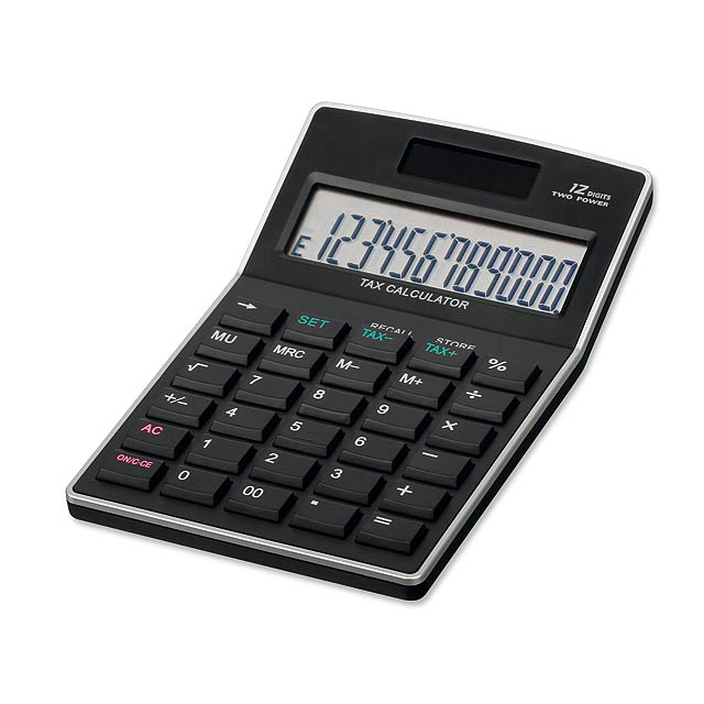 KALEB - Plastic 12-digit dual calculator - black