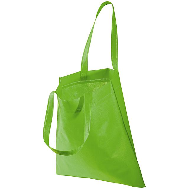 Non-woven taška s dlouhými uchy - citrónová - limetková