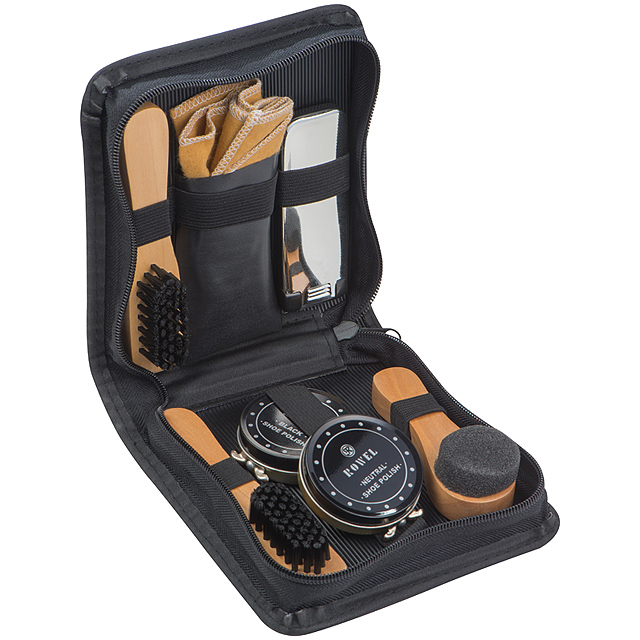 Shoe polishing and cleaning set - black