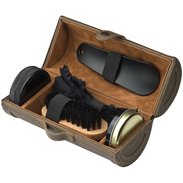 Shoe polishing case - brown
