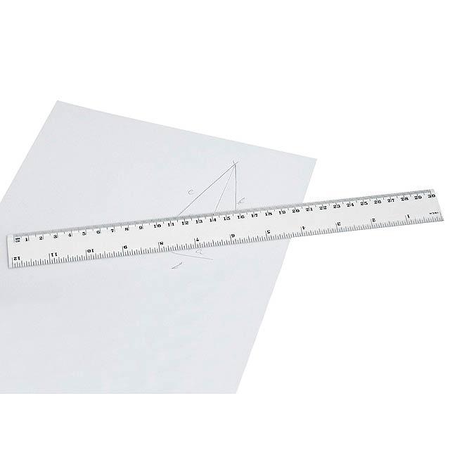 RULER - plastové pravítko, 30 cm - bílá