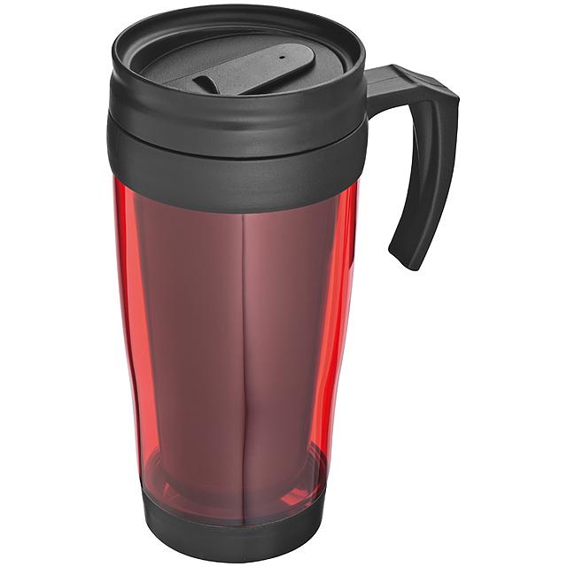 Plastová termoska - červená