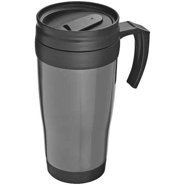 Plastová termoska - šedá