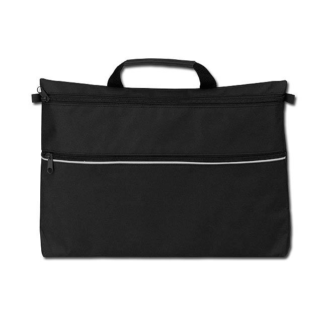 ADALIA - polyesterová taška na dokumenty, 600D - černá