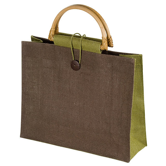 Jutová nákupní taška - zelená