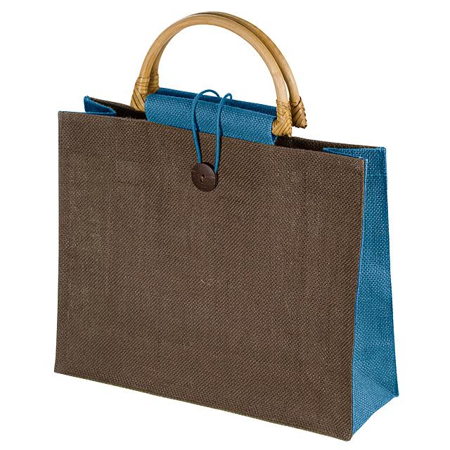Jutová nákupní taška - nebesky modrá