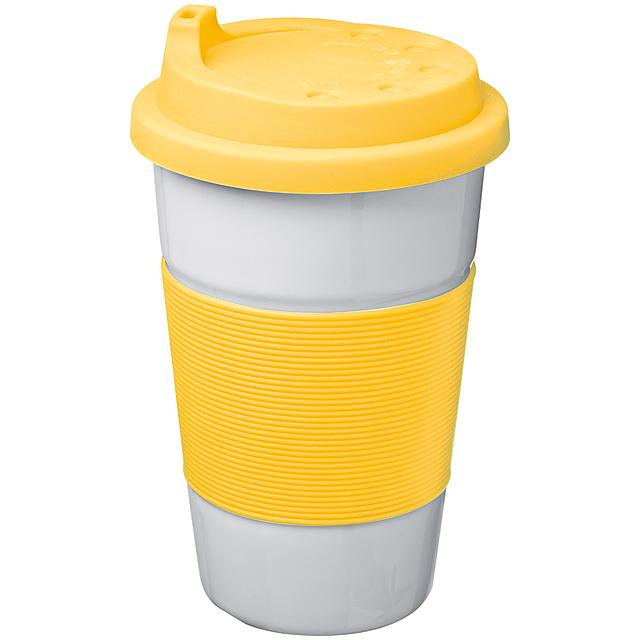 Keramický hrnček svrchnákom - žltá