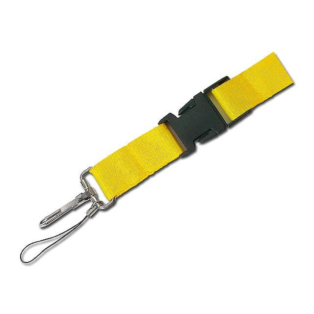 IDA - textilní šňůrka na krk s karabinou - žlutá