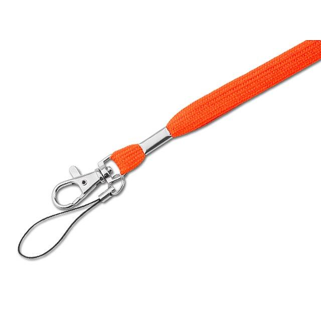SALMA textilní šňůrka na krk s karabinou, Oranžová - oranžová