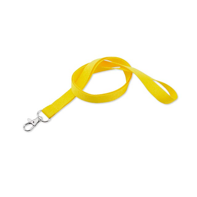 MACY - textilní šňůrka na krk s karabinou - žlutá