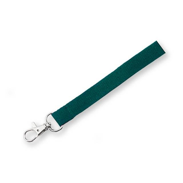 MACY - textilní šňůrka na krk s karabinou - zelená