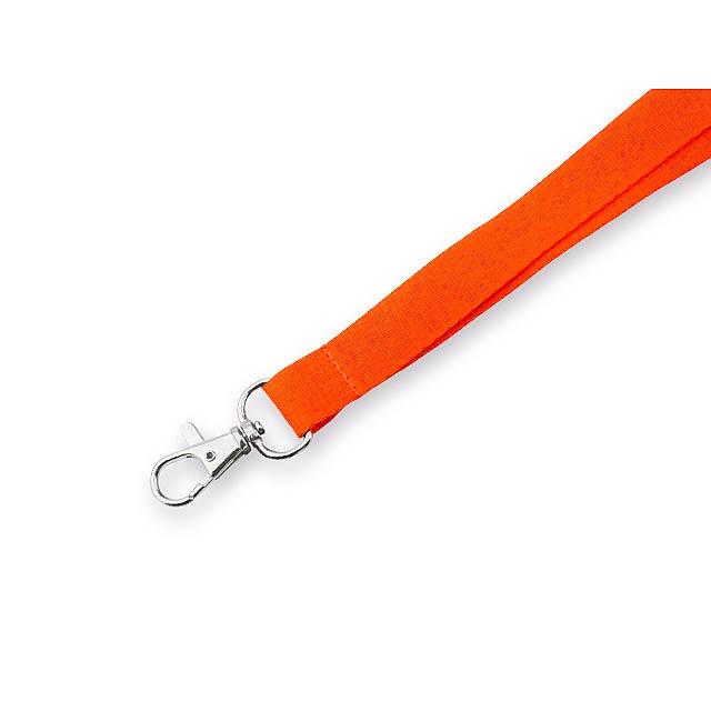 MACY textilní šňůrka na krk s karabinou, Oranžová - oranžová