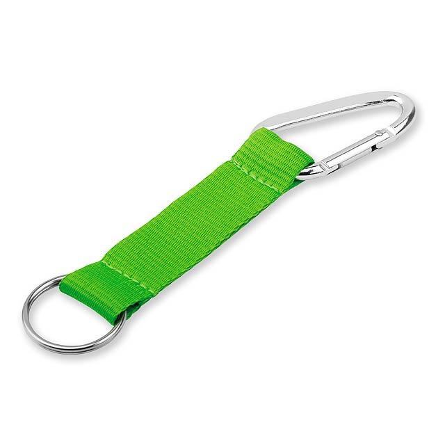 ZOLA - textilní přívěsek - karabina - zelená