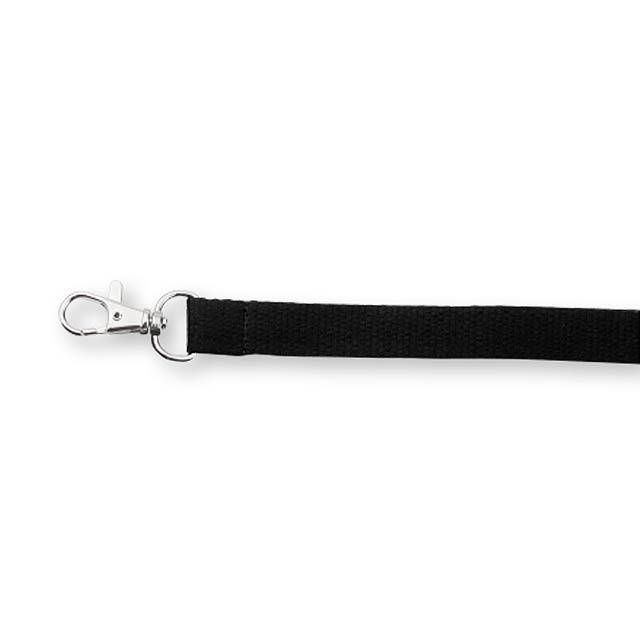VALMONT - textilní šňůrka na krk s karabinou - černá