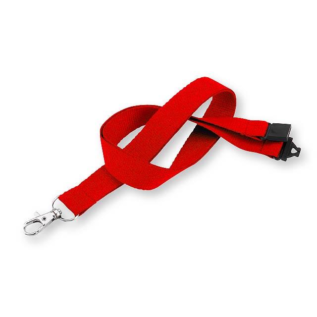 VALMONT - textilní šňůrka na krk s karabinou - červená
