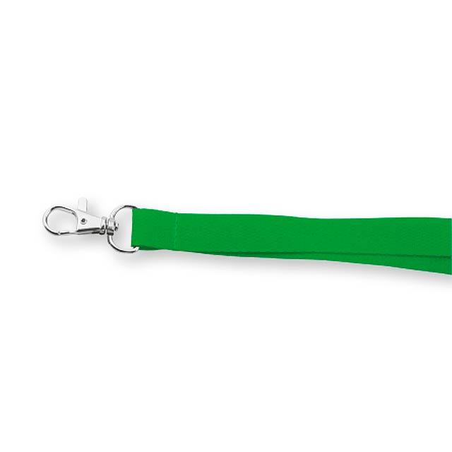 VALMONT - textilní šňůrka na krk s karabinou - zelená