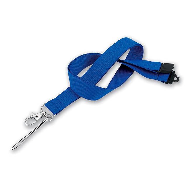 VALMONT - textilní šňůrka na krk s karabinou - modrá