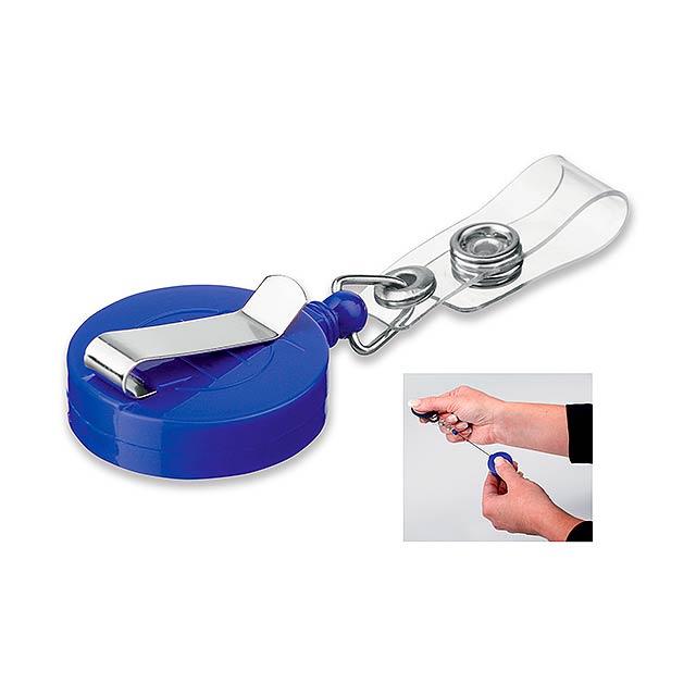 SWINNY - plastový samonavíjecí držák s kovovým klipem - modrá