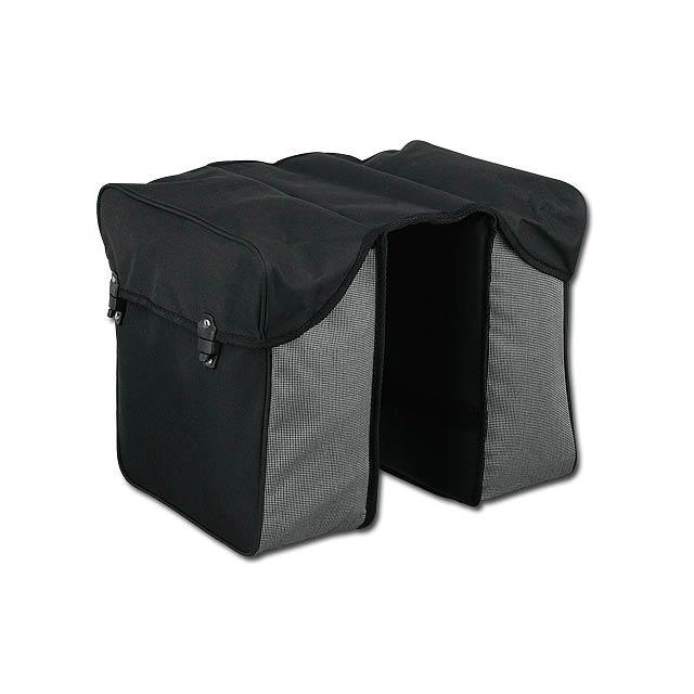 ENY - dvoukomorová polyesterová cyklistická taška na nosič - černá