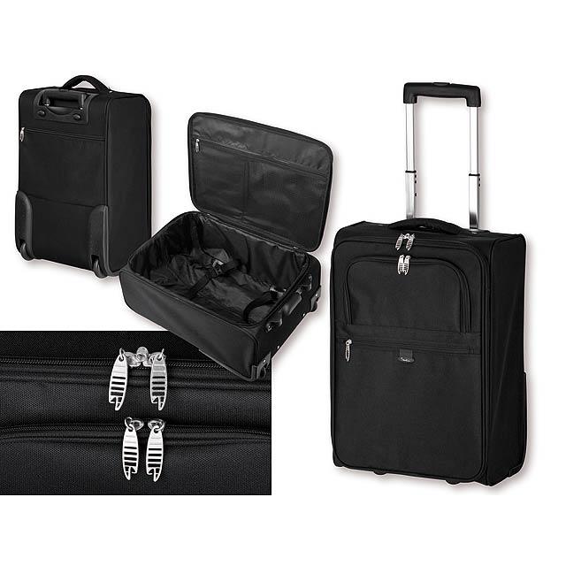 THORVALD - polyesterový kufr na kolečkách, 600D, SANTINI - černá