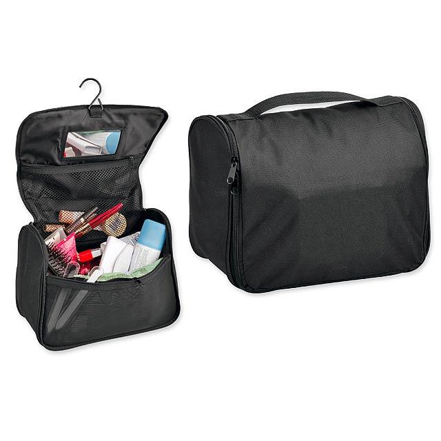 COSMETA - polyesterová kosmetická taška, 600D - černá