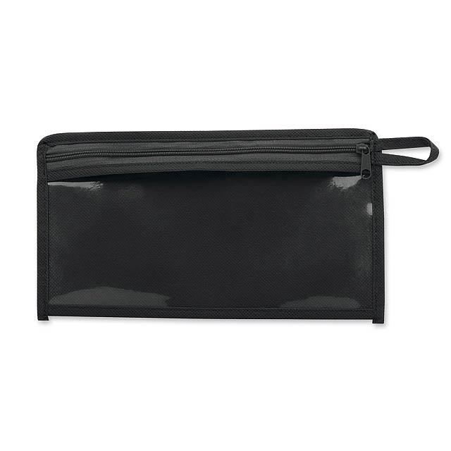 CASEY - Etui aus Kunststoff und non-woven, 80 gm2 - schwarz