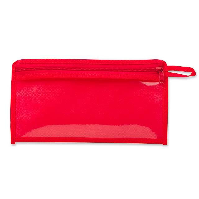 CASEY - Etui aus Kunststoff und non-woven, 80 gm2 - Rot