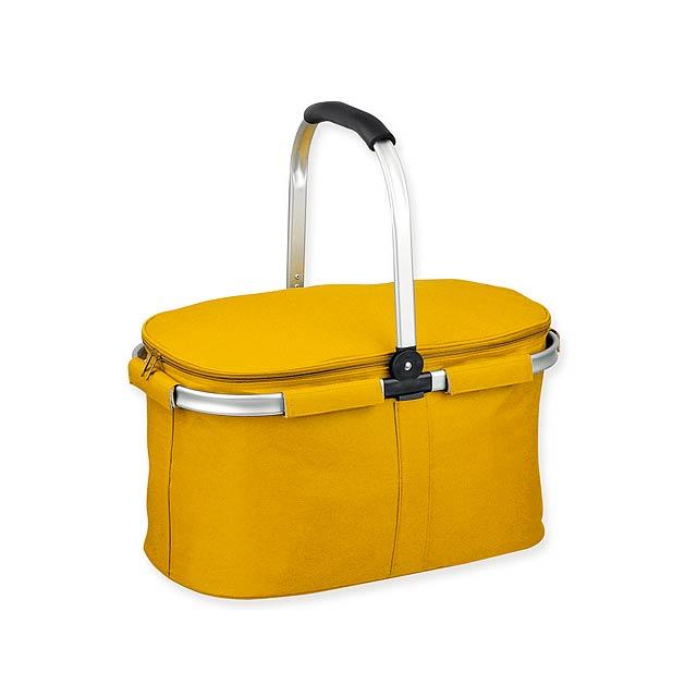 BASKIT - Polyesterový piknikový košík, 600D.             - žlutá