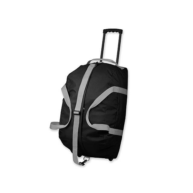 HILTON - polyesterová cestovní taška na kolečkách, 600D - černá