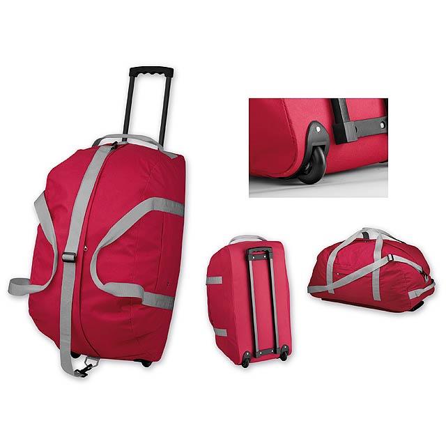 HILTON - polyesterová cestovní taška na kolečkách, 600D - červená