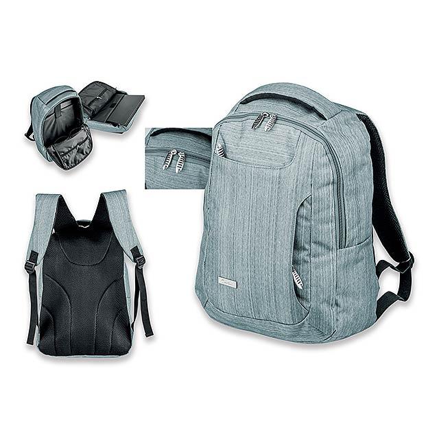 KARDON - polyesterový batoh na notebook, 600D, SANTINI - šedá