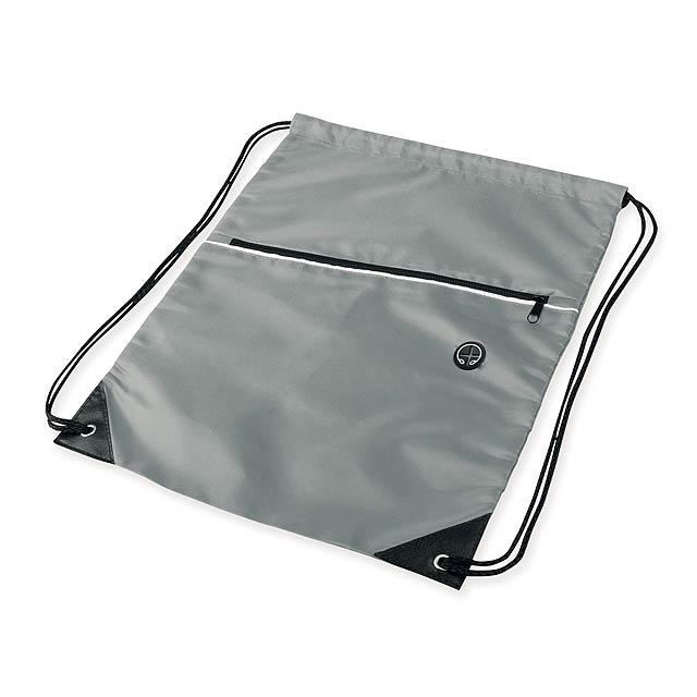 GARU - Polyesterový batoh. 1 hlavní a 1 doplňková kapsa, otvor na sluchátka.      - šedá