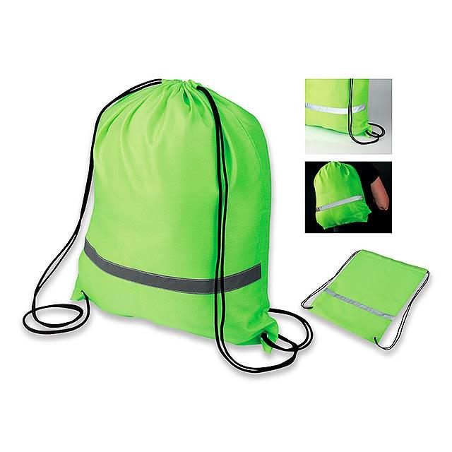SAFER - polyesterový stahovací batoh s reflexním pruhem, 210D - žlutá