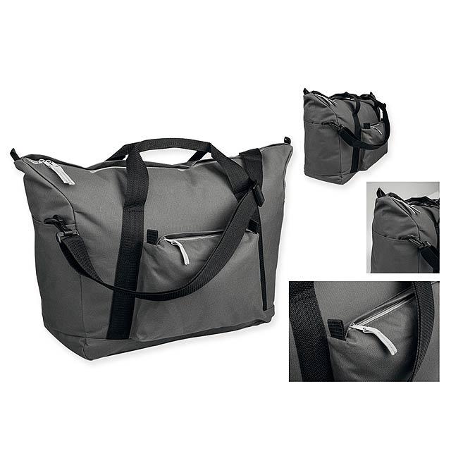 LOAN - Polyesterová cestovní taška s popruhem přes rameno, 600D. 1 hlavní a 4 doplňkové kapsy.   - šedá