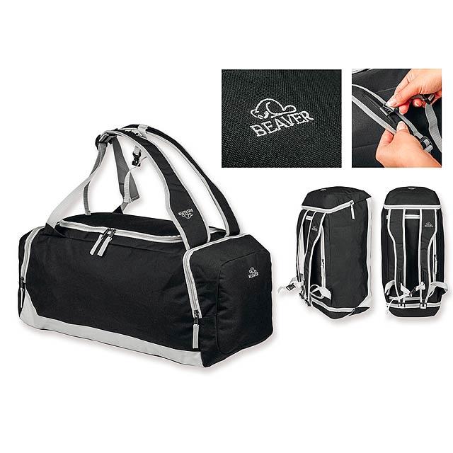 TYLER - Polyesterová cestovní taška s ramenními popruhy, 600D. 1 hlavní a 2 doplňkové kapsy.    - černá