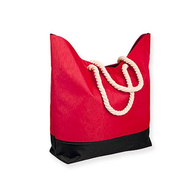 KENZA - Polyesterová plážová taška, 600D.             - červená