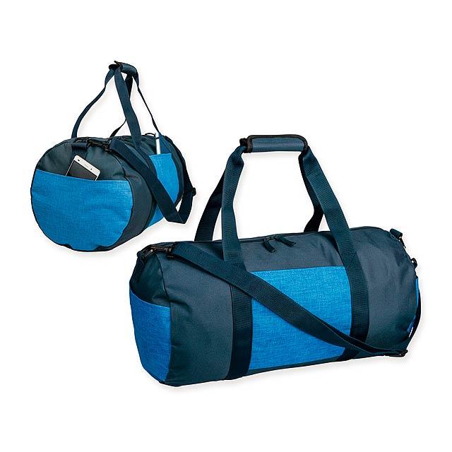NILS - Polyesterová cestovní taška s popruhem přes rameno, 600D. 1 hlavní a 3 doplňkové kapsy.   - modrá
