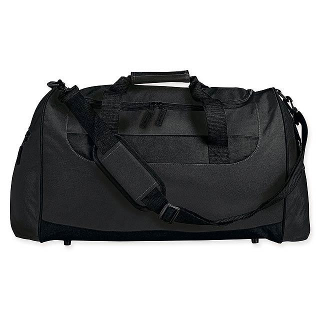 SENNET - Polyesterová cestovní taška s popruhem přes rameno, 600D. 1 hlavní a 2 doplňkové kapsy, pevné dno. - černá