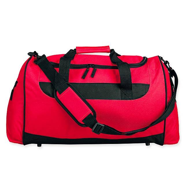 SENNET - Polyesterová cestovní taška s popruhem přes rameno, 600D. 1 hlavní a 2 doplňkové kapsy, pevné dno. - červená