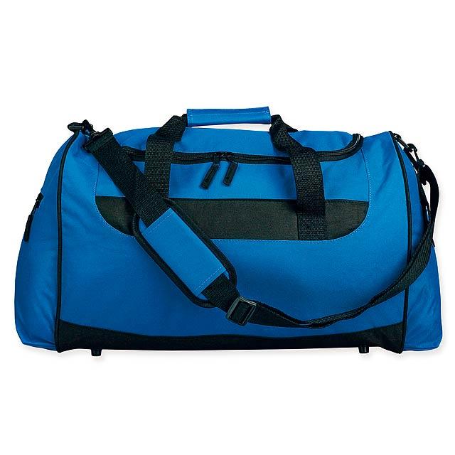 SENNET - Polyesterová cestovní taška s popruhem přes rameno, 600D. 1 hlavní a 2 doplňkové kapsy, pevné dno. - královsky modrá