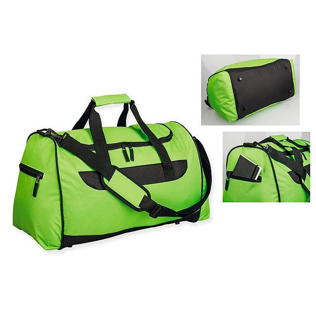 SENNET - Polyesterová cestovní taška s popruhem přes rameno, 600D. 1 hlavní a 2 doplňkové kapsy, pevné dno. - citrónová - limetková