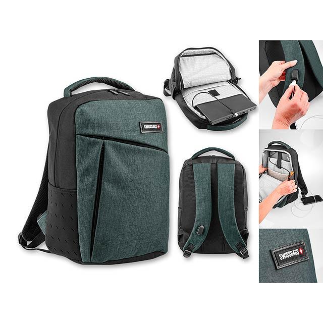 LOGAN - Polyesterový batoh na notebook do 15,6, 600D. 1 hlavní        - šedá