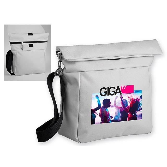 NOLLIE polyesterová taška přes rameno, 600D, Světle šedá - hnědá
