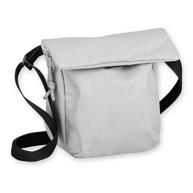 SHANNON polyesterová taška přes rameno, 600D, Světle šedá - hnědá